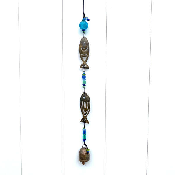 In The Company Of Two - Fish - Metal Beaded Wind Chime With Bell - 23-in