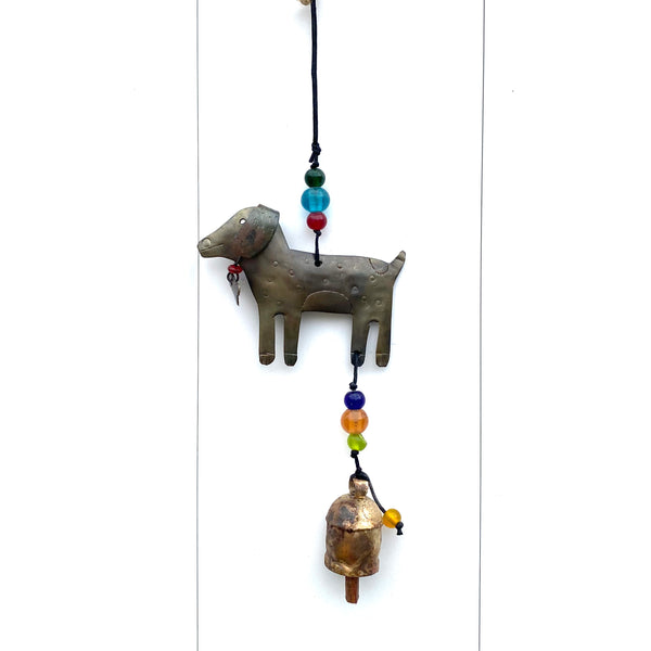 A Dog And A Bone - Metal Beaded Wind Chime With Bell - 13-1/2-in