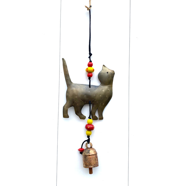 Stand Tall Cat - Metal Beaded Wind Chime With Bell - 14-in