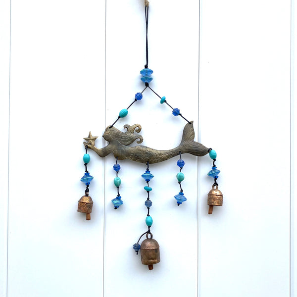 A Starry Mermaid - Metal Beaded Wind Chime With Bell - 17-in