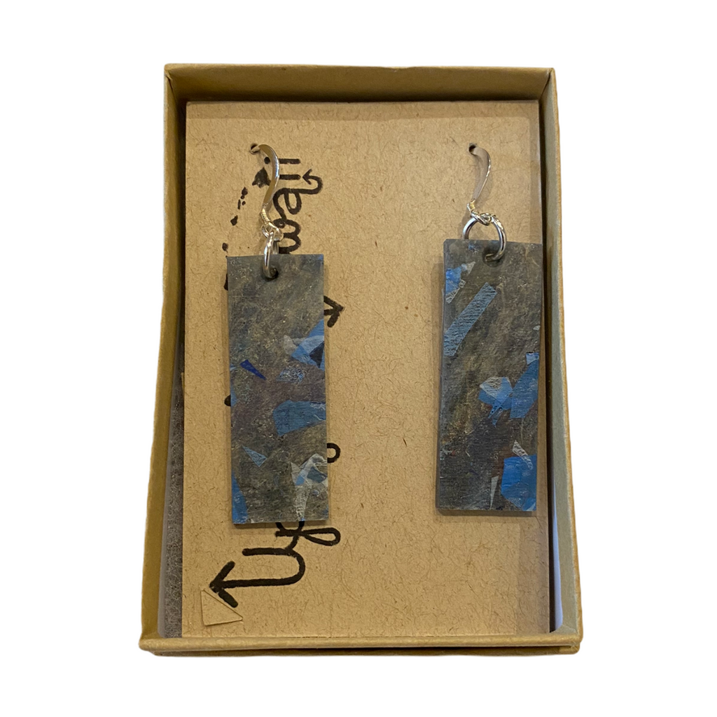 Upcycle Hawaii Fused Plastics Earrings - Bar - 1-1/2-in - Blue