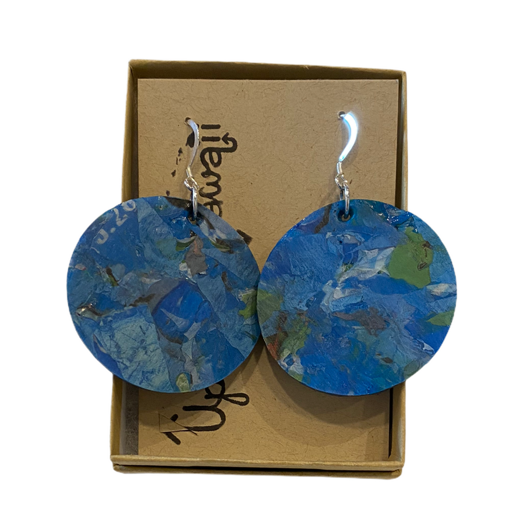 Upcycle Hawaii Fused Plastics Earrings - Circles - 1-1/2-in - Blue