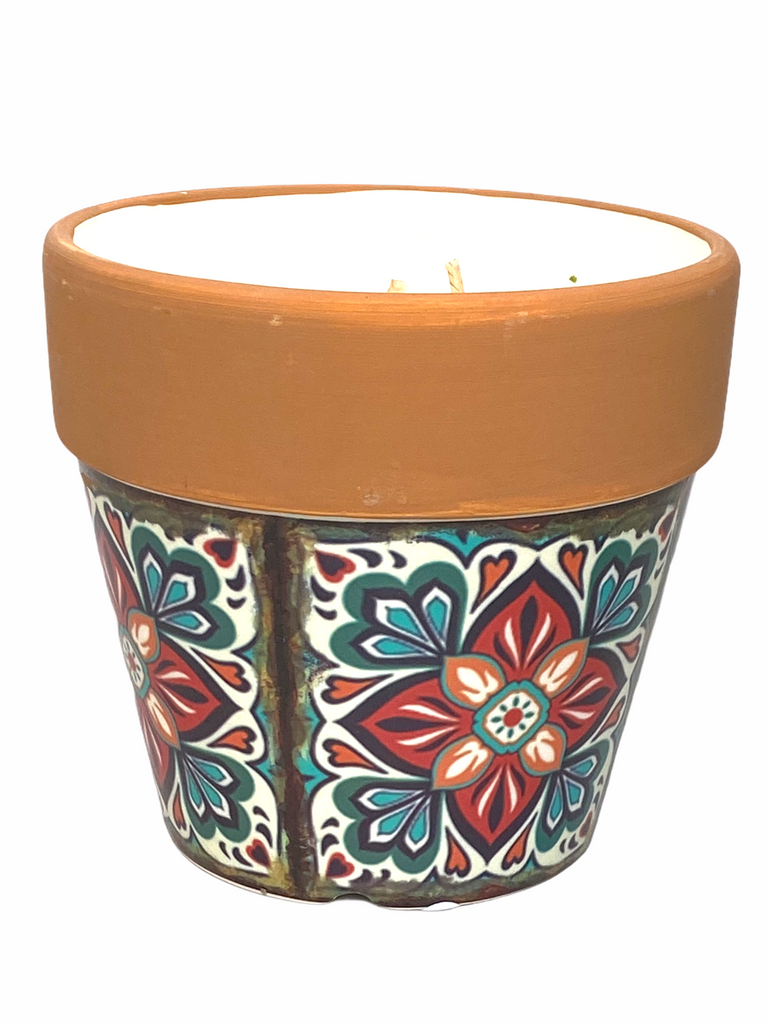 Swan Creek Candle - Mediterranean Terracotta Flower Pot Candle - Large - Sweet Tea