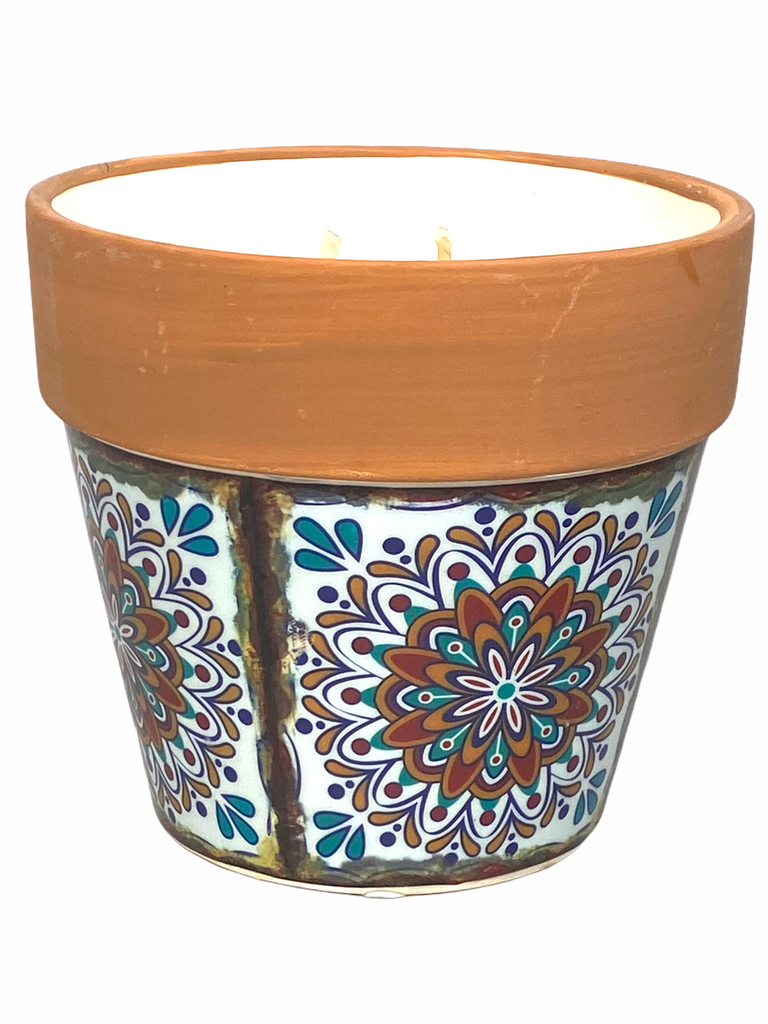 Swan Creek Candle - Mediterranean Terracotta Flower Pot Candle - Large - Fresh Strawberry