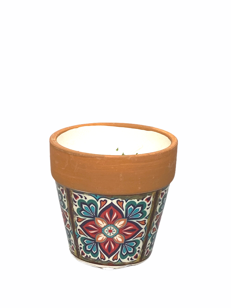 Swan Creek Candle - Mediterranean Terracotta Flower Pot Candle - Small - White Peach and Clove