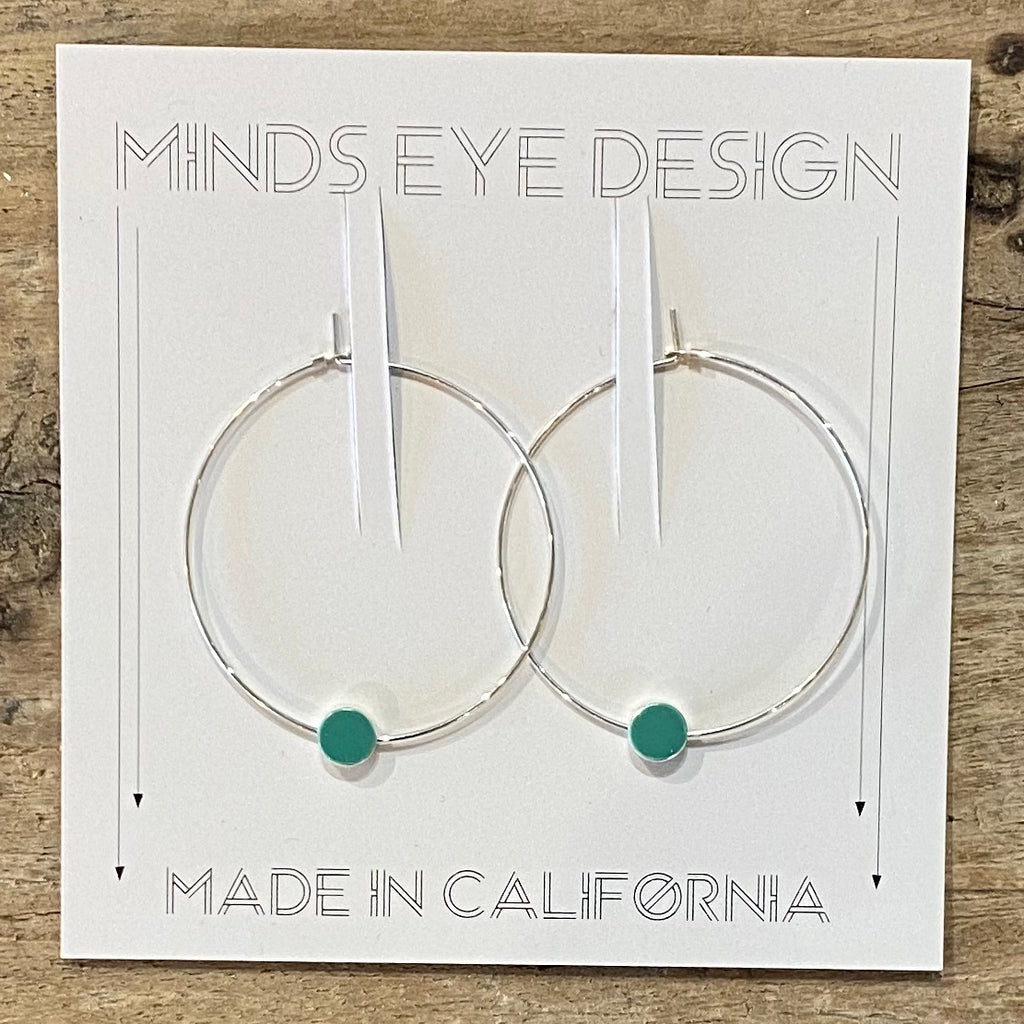 SIlver Circle Color Story Hoops - Teal
