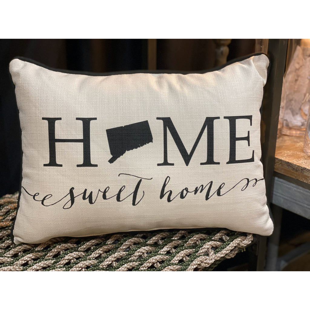 Connecticut Home Sweet Home Throw Pillow With Black Piping 19 In Mellow Monkey