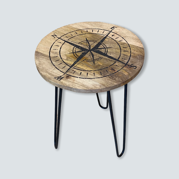 Compass Rose Wood Side Table with Metal Hairpin Legs - 23-1/2-in