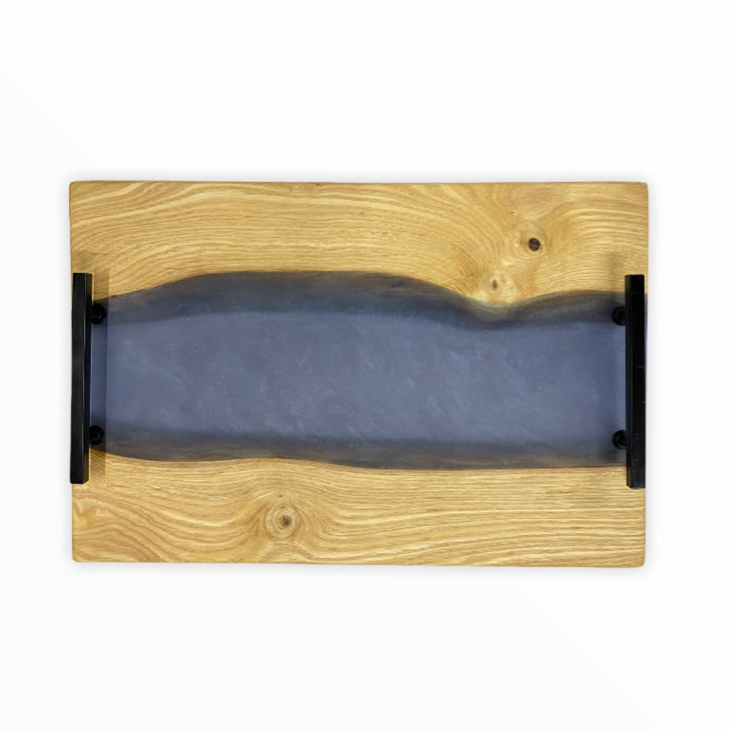 Ash Wood Charcuterie Cutting Board Tray With Black Handles - Lux Turquoise Wave - 17-3/4-in