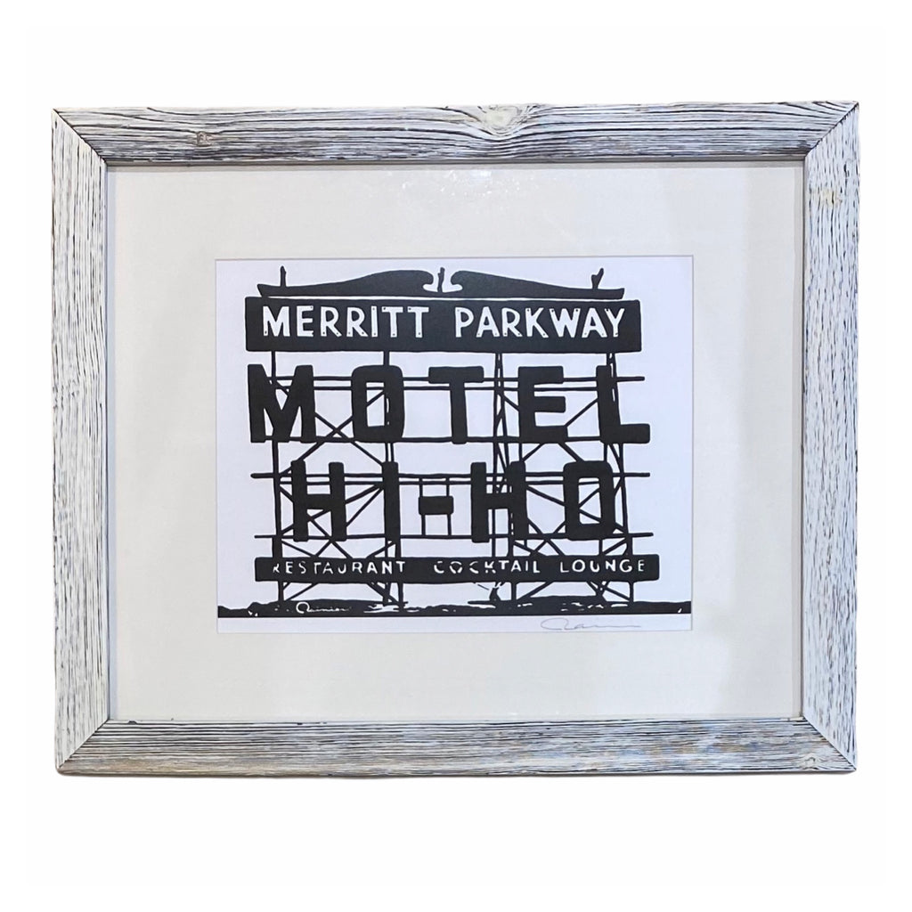 Merritt Parkway Motel Hi-Ho Vintage Original Limited Edition Framed Print White Wash Weathered Finish - 21-in