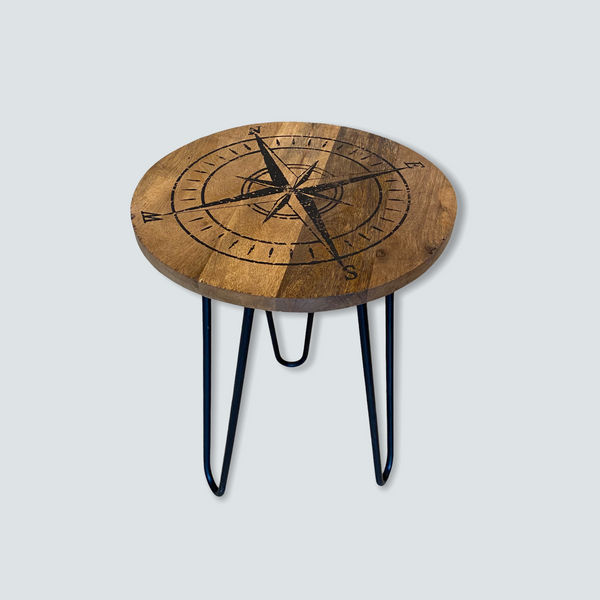 Compass Rose Wood Side Table with Metal Hairpin Legs - 19-1/2-in