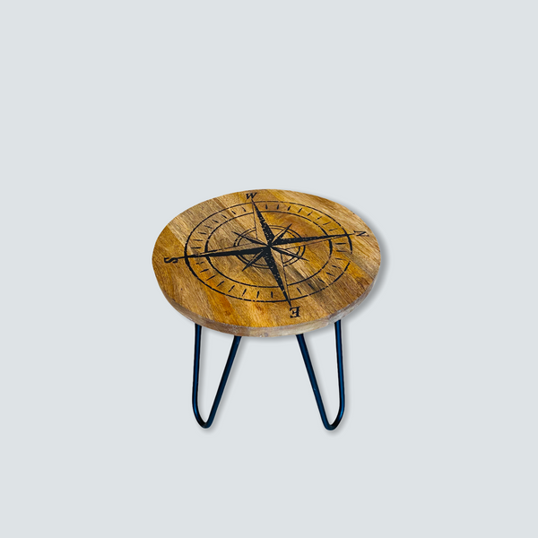 Compass Rose Wood Stool with Metal Hairpin Legs - 12-1/2-in