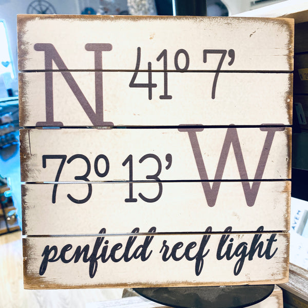Weathered Coastal Plank Board Sign with Coordinates for Penfield Reef Light, Fairfield CT Long Island Sound