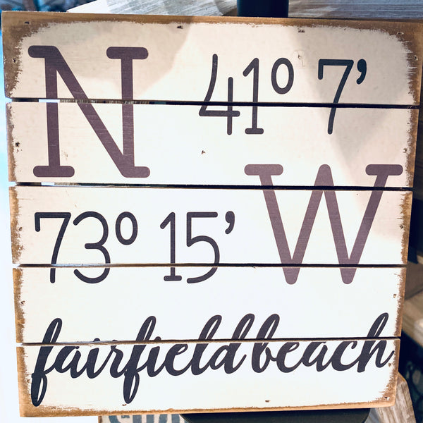 Weathered Coastal Plank Board Sign with Coordinates for Fairfield Beach Connecticut