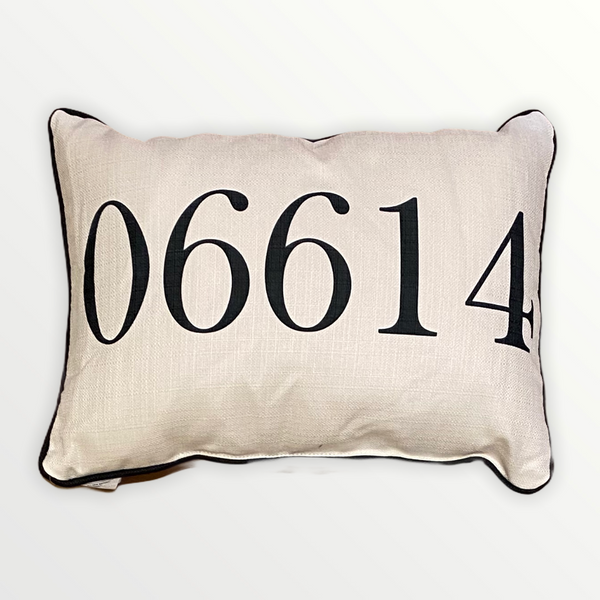 Zip Code Throw Pillow Black Text with Black Piping - 06614 (Stratford, Connecticut) - 19-in