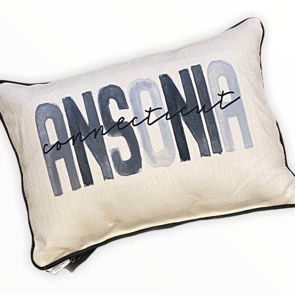 Ansonia Connecticut Throw Pillow with Gray Piping - 19-in
