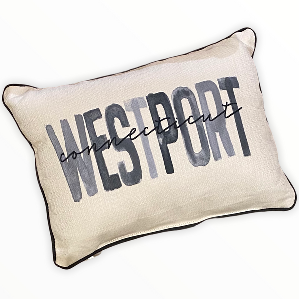 Westport Connecticut Throw Pillow with Gray Piping - 19-in
