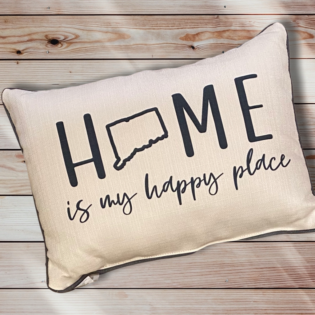 Connecticut Home Is My Happy Place Throw Pillow with Storm Grey Piping - 19-in