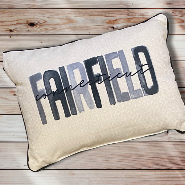 Fairfield Connecticut Throw Pillow with Gray Piping - 19-in