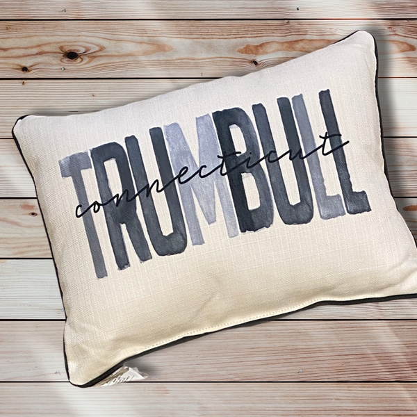 Trumbull Connecticut Throw Pillow with Gray Piping - 19-in
