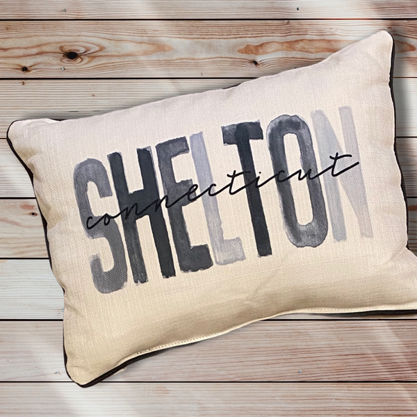 Shelton Connecticut Throw Pillow with Gray Piping - 19-in