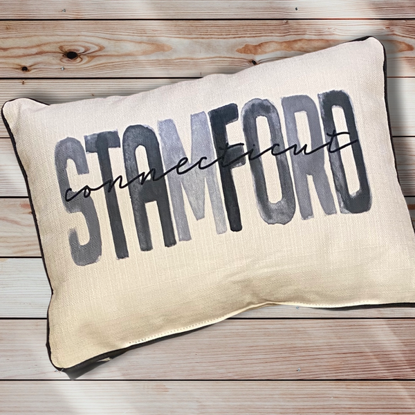 Stamford Connecticut Throw Pillow with Gray Piping - 19-in