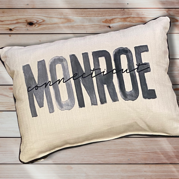Monroe Connecticut Throw Pillow with Gray Piping - 19-in