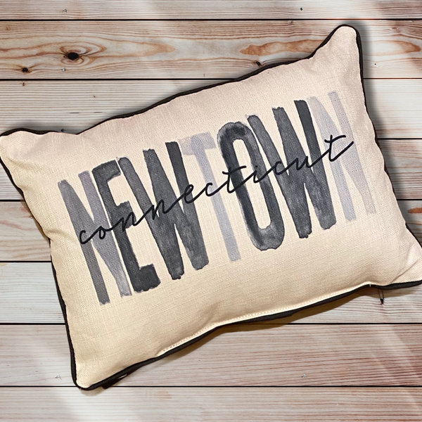 Newtown Connecticut Throw Pillow with Gray Piping - 19-in