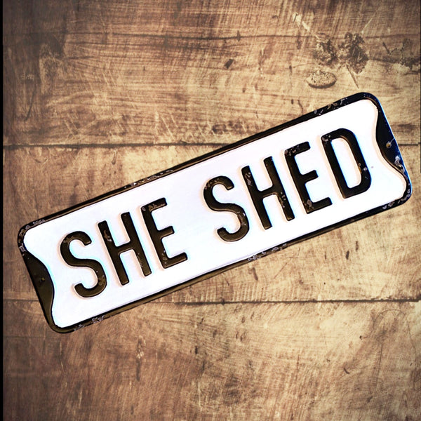 She Shed - Vintage Embossed Metal Street Sign - 19-1/2-in x 6-in