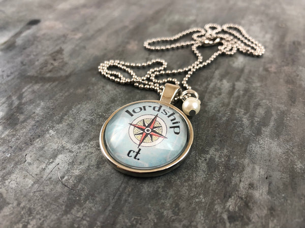 Lordship CT Compass Pendant with Hand Wrapped Bead 24-in