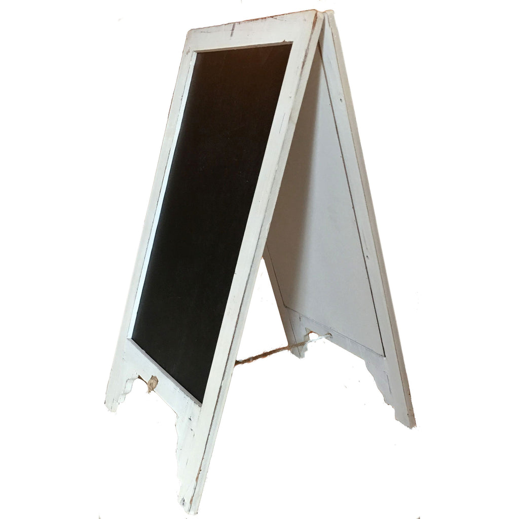 Vintage Shabby Chic Large White Free Standing Wood Frame Two-Sided Sandwich Chalkboard - Mellow Monkey  - 1