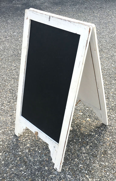 Vintage Shabby Chic Large White Free Standing Wood Frame Two-Sided Sandwich Chalkboard - Mellow Monkey  - 3