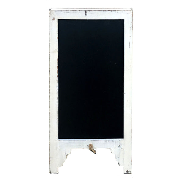 Vintage Shabby Chic Large White Free Standing Wood Frame Two-Sided Sandwich Chalkboard - Mellow Monkey  - 2