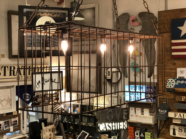 Decorative Industrial Metal Crate Pulley Light Fixture
