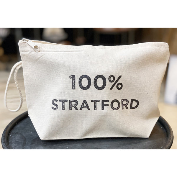 100% Stratford Zippered Canvas Pouch - 10-1/2-in