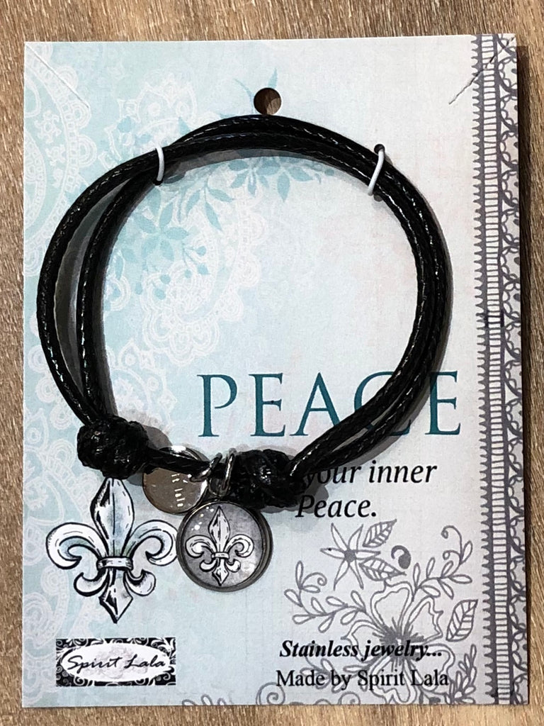 Spirit Lala Adjustable Leather Bracelet - Peace - Fleur Dis Lis