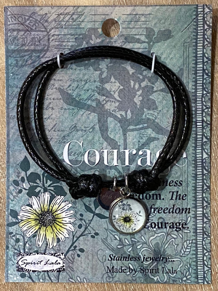Spirit Lala Adjustable Leather Bracelet - Courage Flower