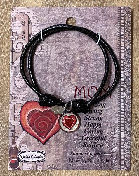Spirit Lala Adjustable Leather Bracelet - Mom Heart