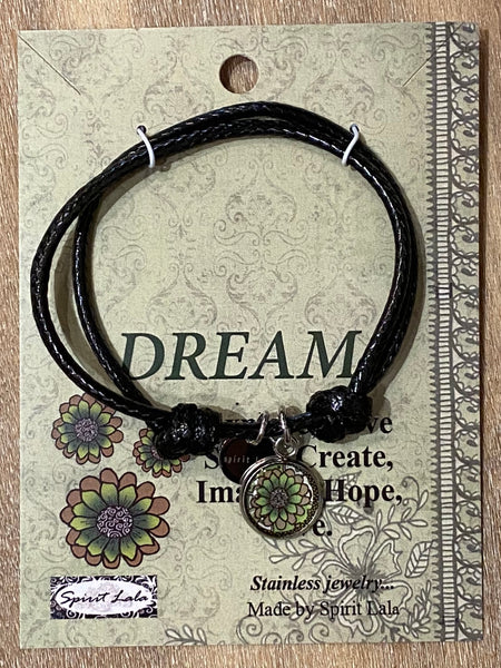Spirit Lala Adjustable Leather Bracelet - Dream - Flower