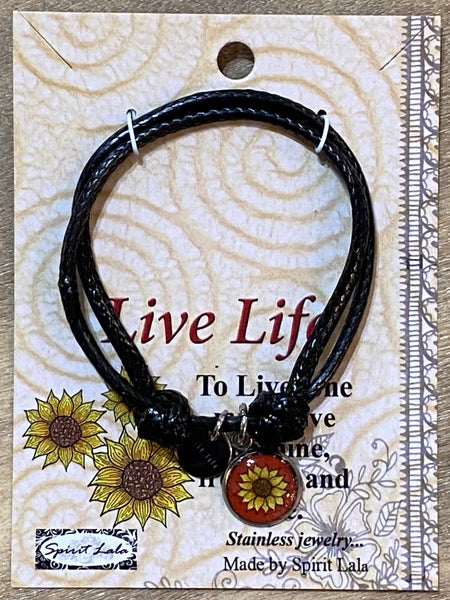 Spirit Lala Adjustable Leather Bracelet - Live Life Flower