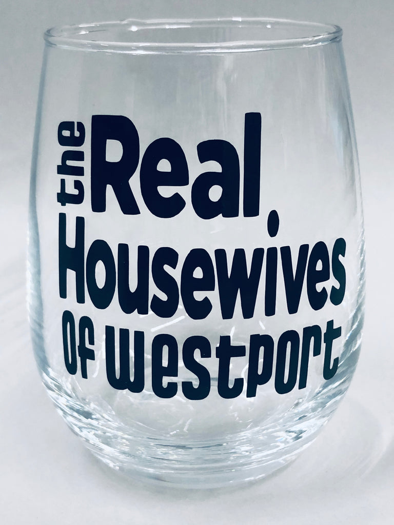 Real Housewives of Westport Stemless Wine Glass