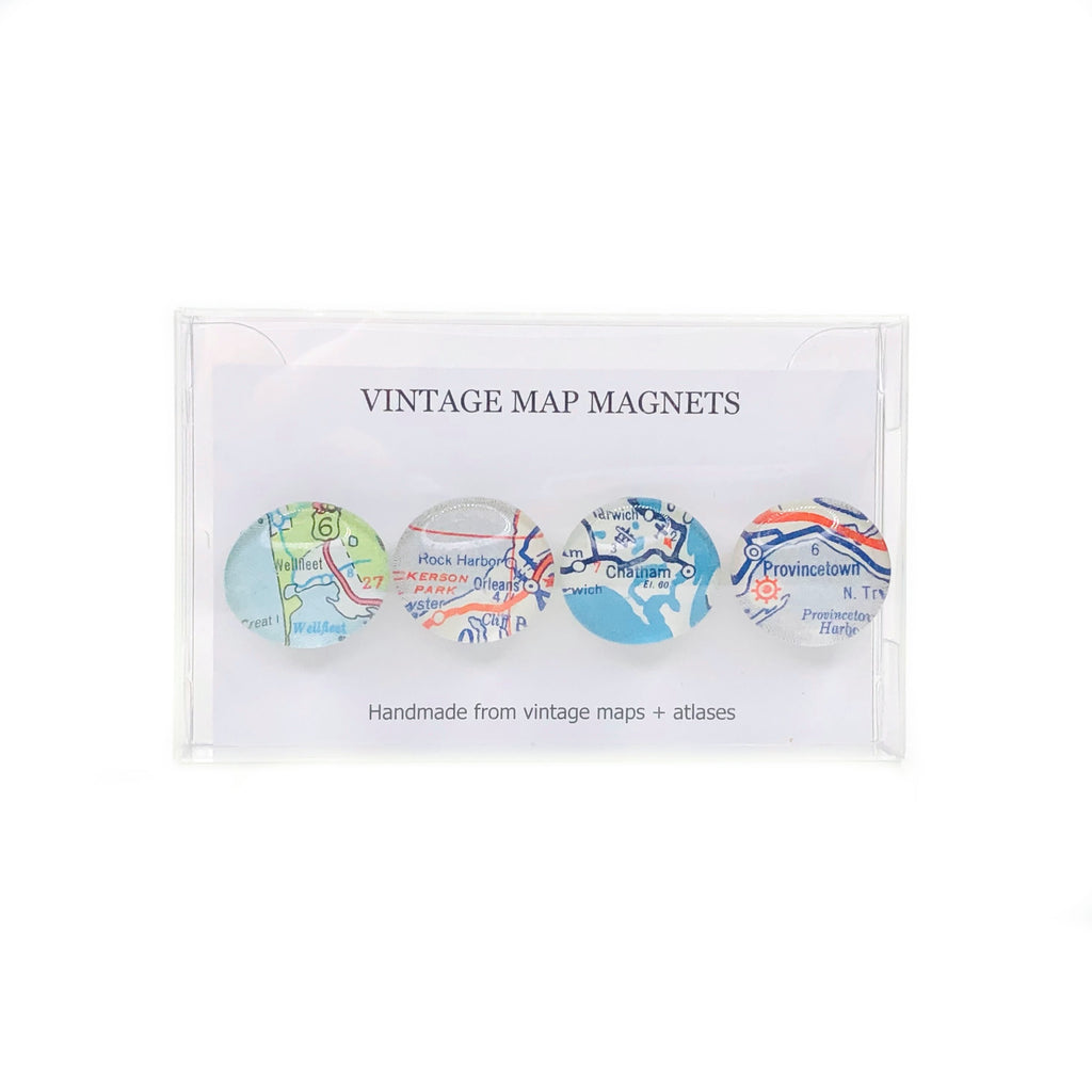 Cape Cod Vintage Map Button Magnets - Set of 4 - 3/4-in