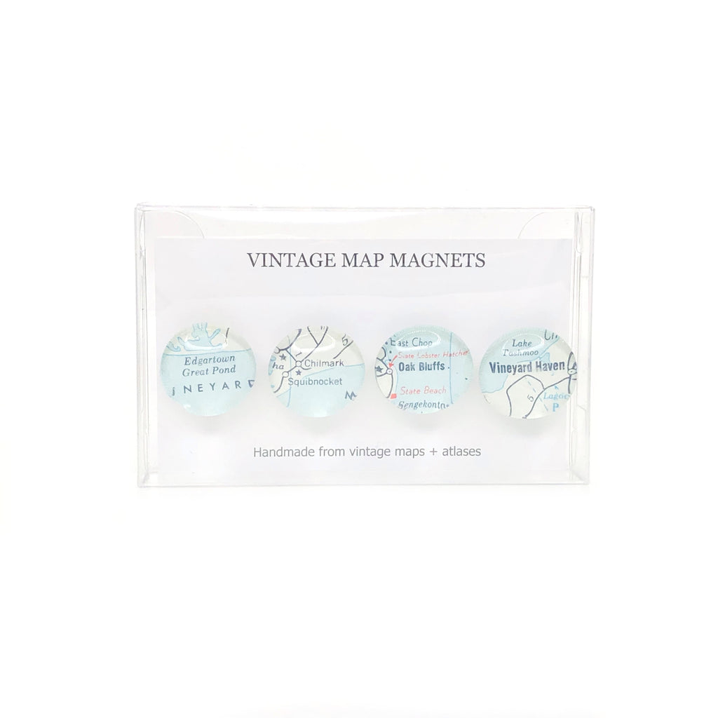 Martha's Vineyard Vintage Map Button Magnets - Set of 4 - 3/4-in