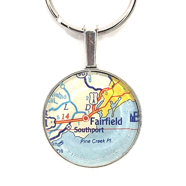 Vintage Map Key Ring