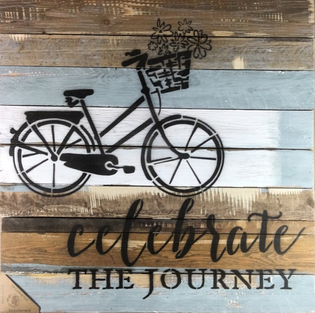 Celebrate The Journey with Bicycle Flowers Basket - Wood Wall Decor - Blue Whisper 24-in