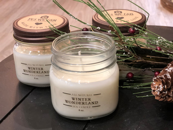 Hand Poured Soy Candles - Holiday Scents with Essential Oils 8-oz