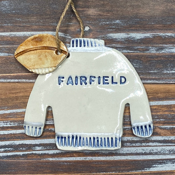 Fairfield Varsity Football Sweater Ceramic Ornament - 3-1/2-in