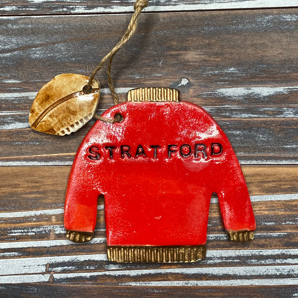 Stratford Varsity Football Sweater Ceramic Ornament - 3-1/2-in