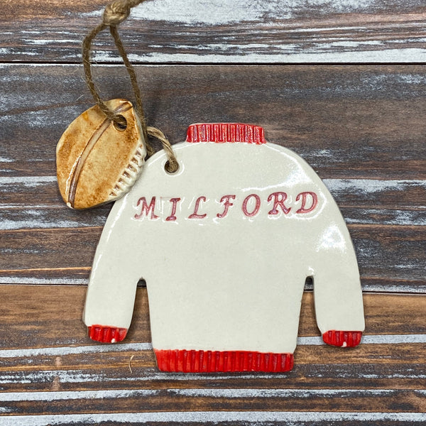 Milford Varsity Football Sweater Ceramic Ornament - 3-1/2-in