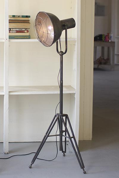Vintage Metal Caged Studio Lamp with Tripod Stand | 72-in